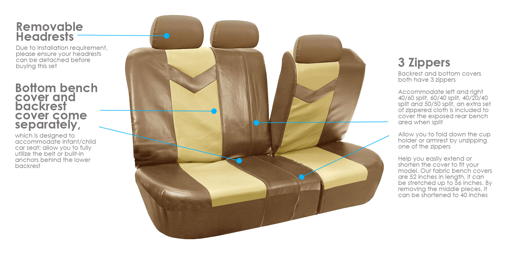 Miraculous Fh Group Synthetic Leather Auto Accessory Full Set With Steering Wheel Cover And Seatbelt Pads Side Airbag Compatible With Split Bench Function Andrewgaddart Wooden Chair Designs For Living Room Andrewgaddartcom