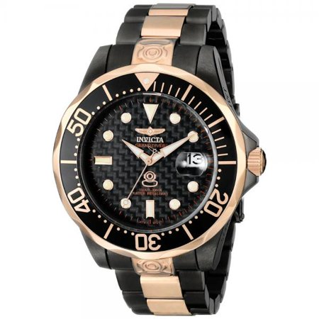 - Invicta Men's 10643 Pro Diver Automatic Black Carbon Fiber Dial Two Tone Stai...