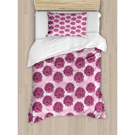 Pink Duvet Cover Set, Hand Drawn Graphic Design Chrysanthemums Flourishing Flowers Natural Retro Art, Decorative Bedding Set with Pillow Shams, Pale Pink Pink, by Ambesonne