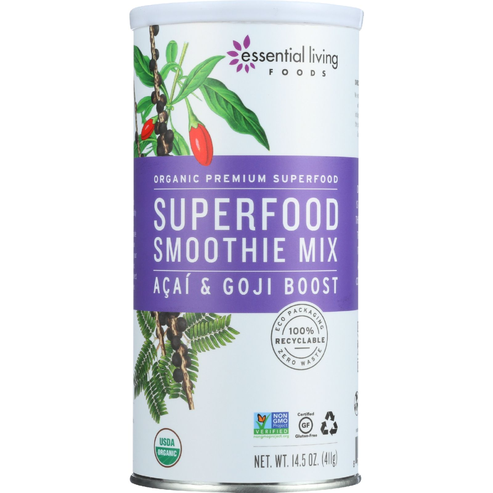 Essential Living Foods Smoothie Mix   Organic   Superfood   Acai And Goji  Boost   14.5