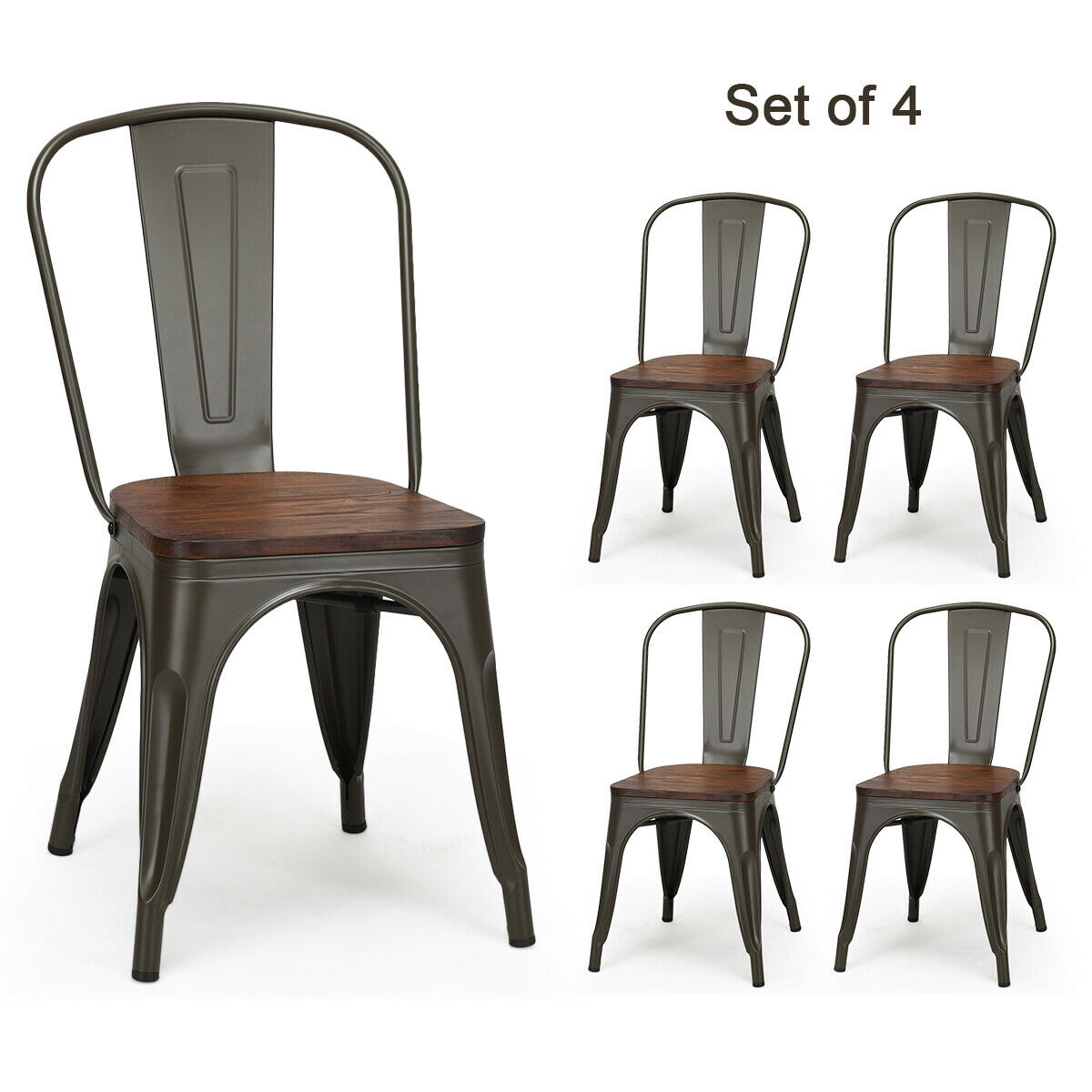 Set of 4 Tolix Style Metal Dining Side Chair Wooden Seat ...