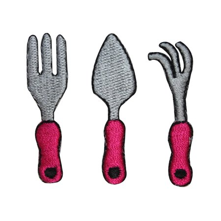 ID 3074ABC Set of 3 Garden Tools Patch Fork Spade Embroidered Iron On Applique ()