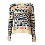 Maison Jules Women's Fair Isle Knitted Sweater (XS, Antique White Combo)