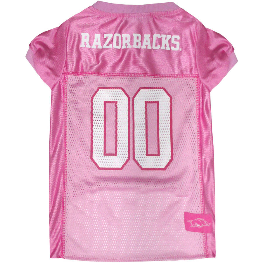 Pets First College Arkansas Razorbacks Pet Pink Jersey, 4 Sizes Available