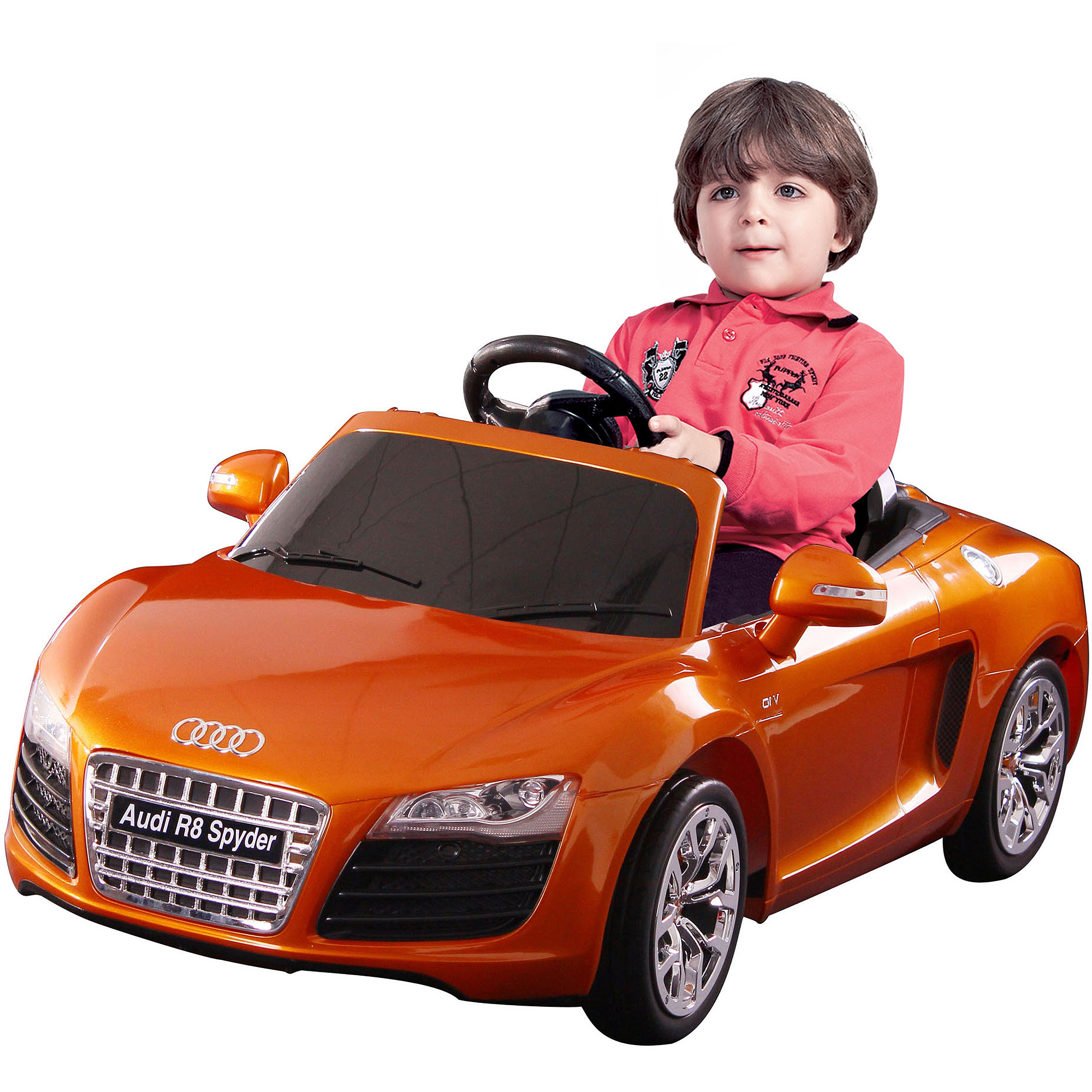 Kalee Audi R8 Spyder 12-Volt Battery-Powered Ride-On, Orange