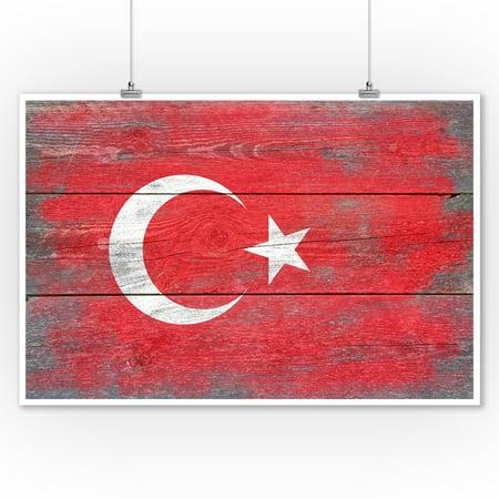 Rustic Turkey Country Flag - Lantern Press Artwork (9x12 Art Print, Wall Decor Travel Poster)](Turkish Lanterns)
