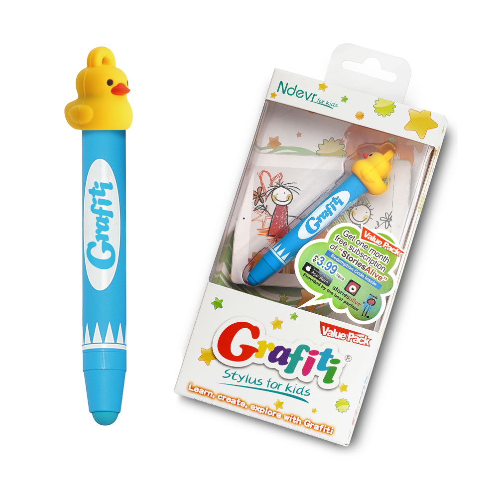 Ndevr Grafiti Aluminum Kid Friendly Stylus with Hanging Strap and Yellow Ducky Cap - Blue
