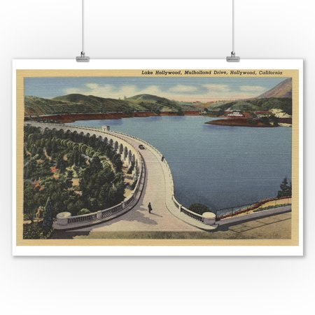 Hollywood, CA - Lake Hollywood & Mulholland Drive (9x12 Art Print, Wall Decor Travel Poster) - Hollywood Decor
