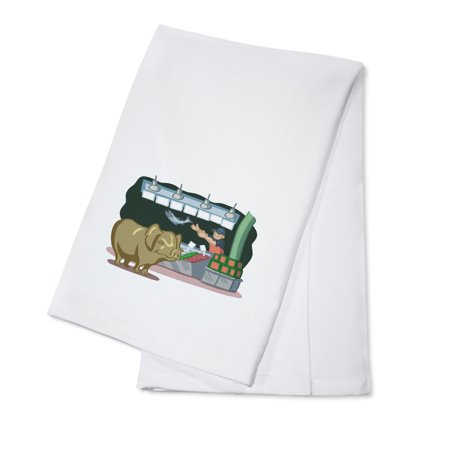 Seattle  Washington   Pike Place Market   Cartoon Icon   Image Only   Lantern Press Artwork  100  Cotton Kitchen Towel