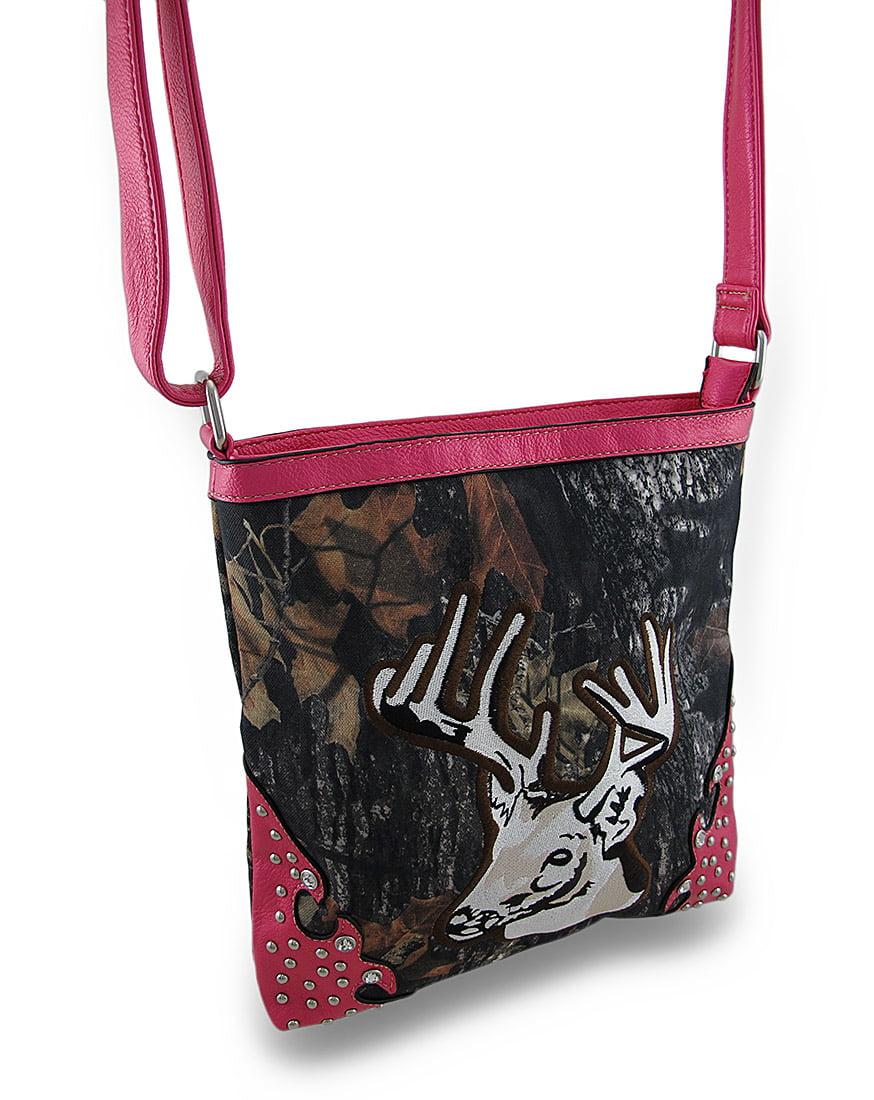 Forest Camo Deer Head Cross Body Bag w/Glossy Studded Trim
