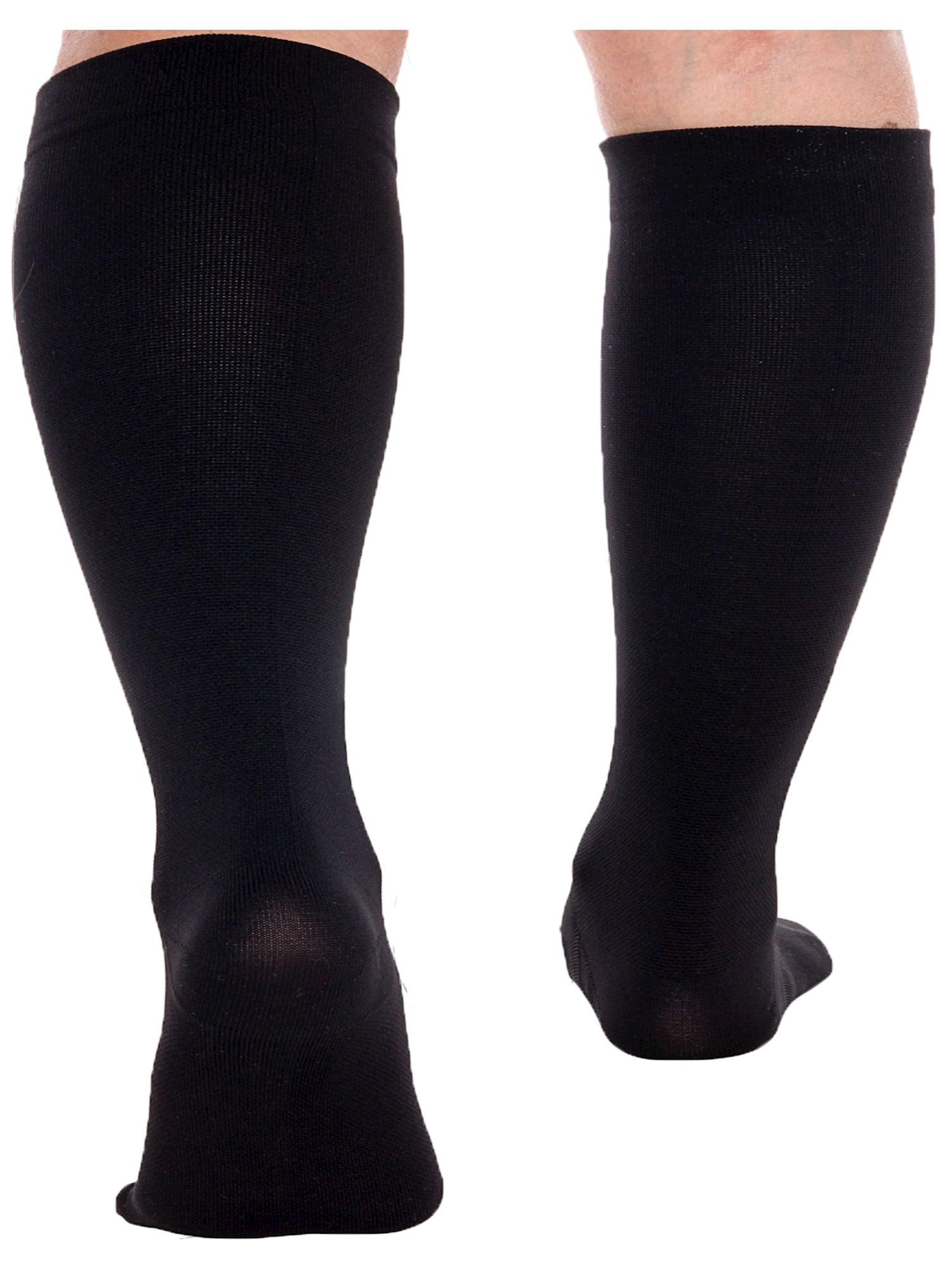15-25 mmHg Knee High Plus Size Support LISH 2 Pack Plain Jane Wide Calf Compression Socks