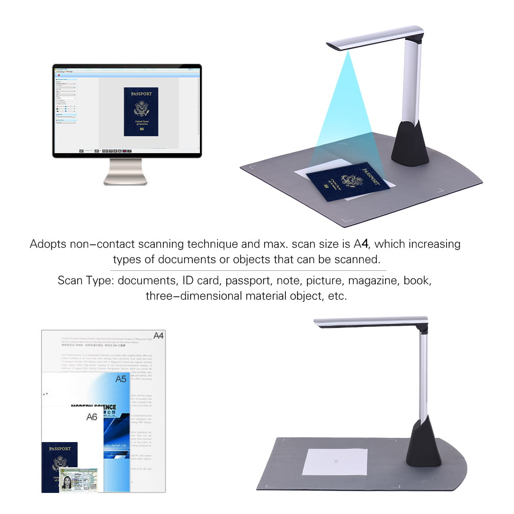 Only English TZUTOGETHER High Definition Scanner Portable,High Speed Document Scanner,8 Million Pixel,with Real Time Projection Video Recording A4 Format,for Web Conferencing,Distance Learning