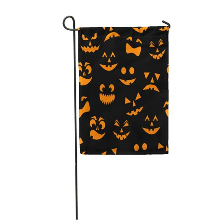 KDAGR Pattern Orange Halloween Pumpkins Carved Faces Silhouettes on Skeleton Garden Flag Decorative Flag House Banner 12x18 inch
