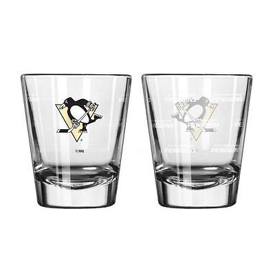 Pittsburgh Penguins Shot Glass - 2 Pack Satin Etch