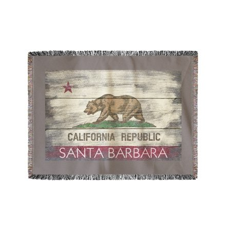 Santa Barbara, California - Rustic California State Flag - Lantern Press Artwork (60x80 Woven Chenille Yarn (State St Santa Barbara)