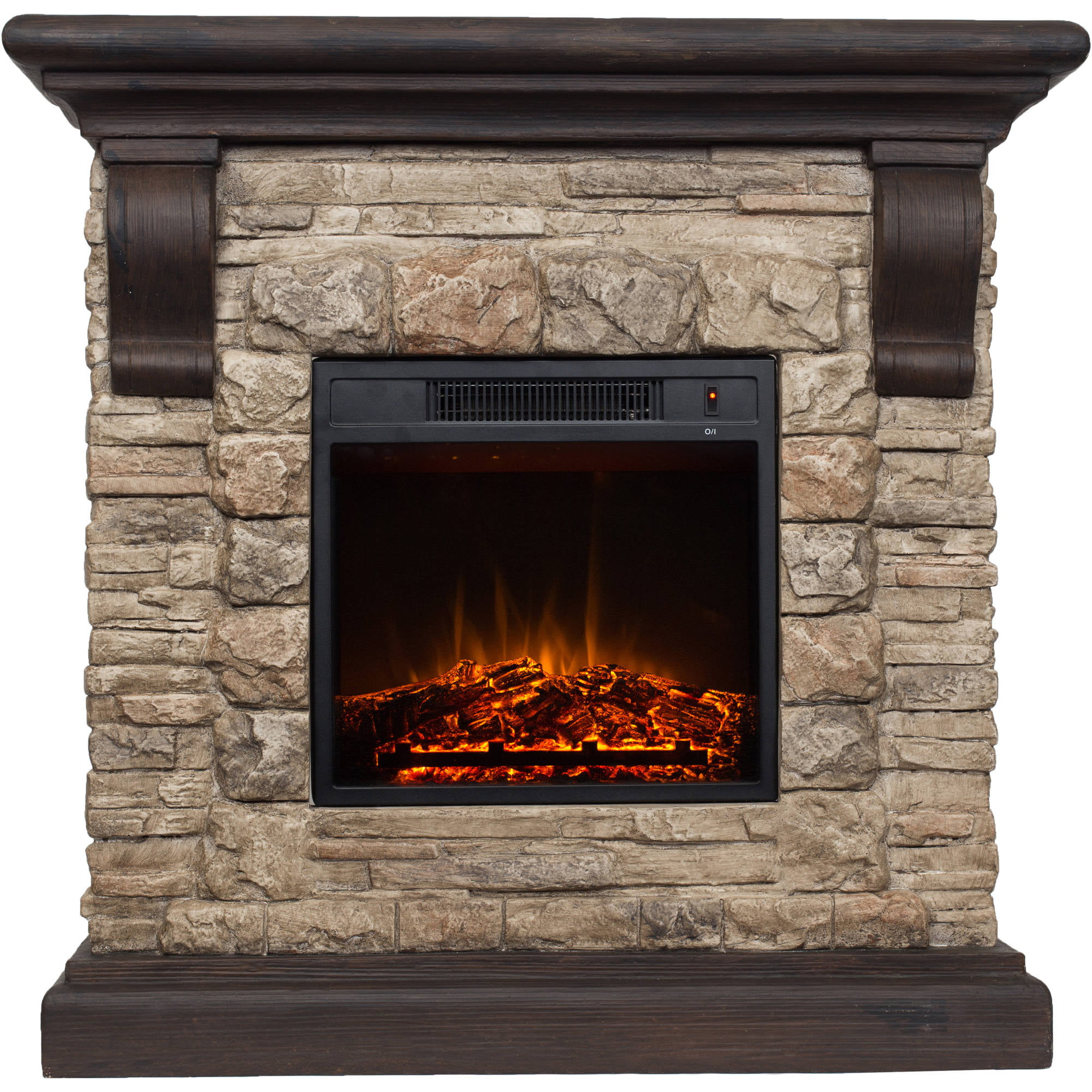 Polyfiber Electric Fireplace With Mantle Walmart Com