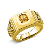 3.04 Ct Yellow Citrine White Topaz 18K Yellow Gold Plated Silver Men's Ring