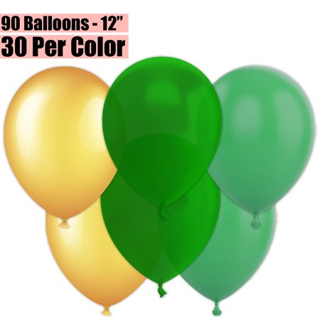 12 Inch Party Balloons, 90 Count - Metallic Gold + Emerald Green + Jade Green - 30 Per Color. Helium Quality Bulk Latex Balloons In 3 Assorted Colors - For Birthdays, Holidays, Celebrations, and](Green Helium Balloons)