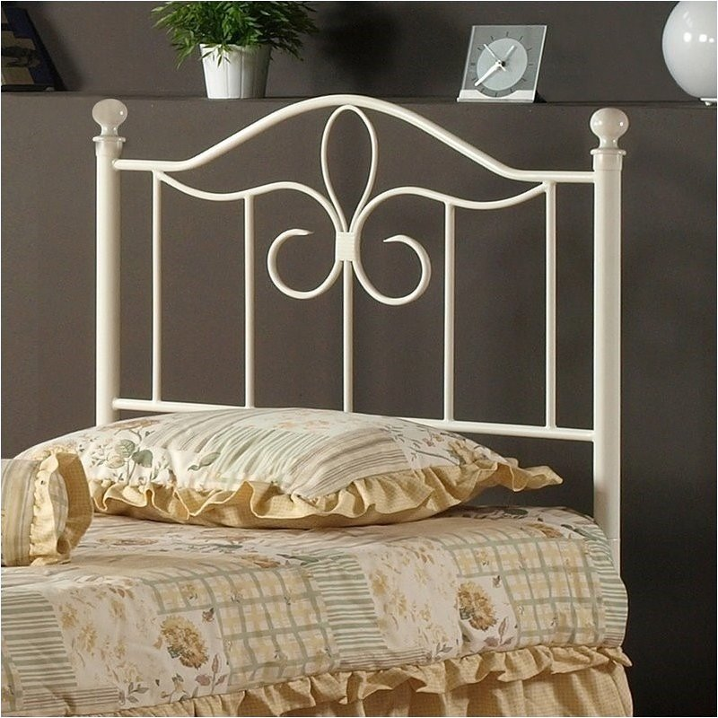 Hawthorne Collections Twin Metal Spindle Headboard in Off-White