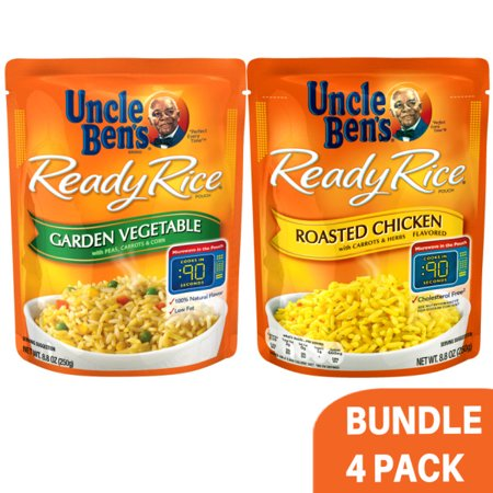 Variety Pack Uncle Bens Ready Rice: (2 Packs) Garden Vegetable & (2 Packs) Roasted Chicken, 0.55lb -