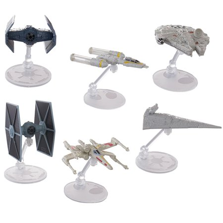 Set Of 6 Hot Wheels Star Wars Starships Millennium Falcon X Wing Y Wing Tie Fighter Darth Vader Tie Advanced Star Destroyer Han Solo