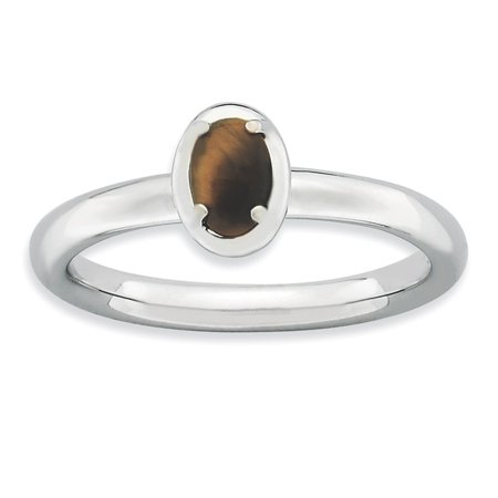 Sterling Silver Stackable Expressions Tiger's Eye Polished Ring - Eye Rings
