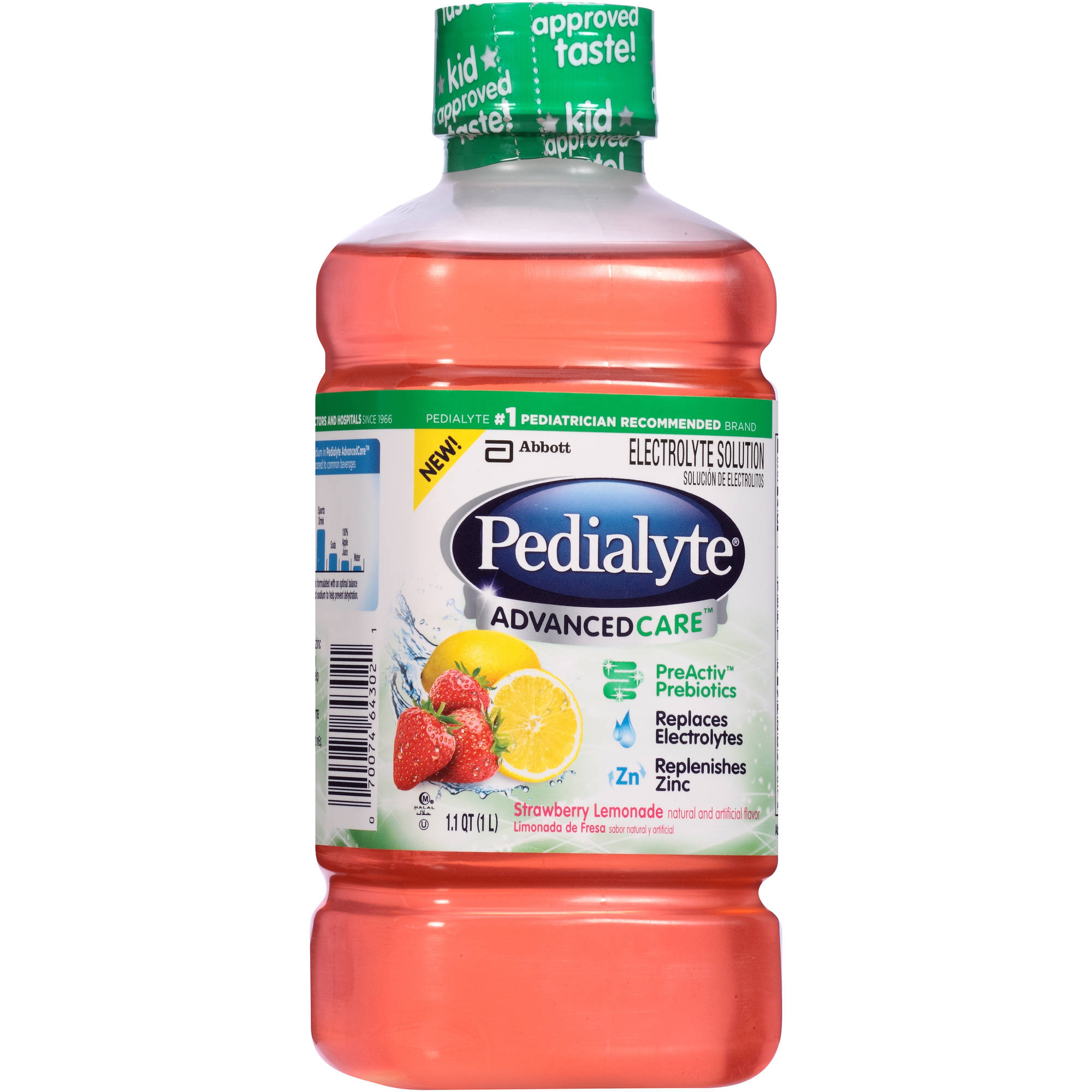 Pedialyte AdvancedCare Strawberry Lemonade Electrolyte Solution, 1.1 qt