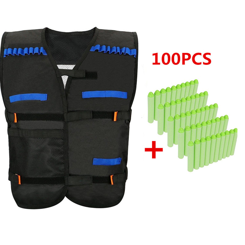 Kids Elite Black Tactical Vest with 100 Pcs Green Soft Foam Darts for Gun N-strike Elite Series