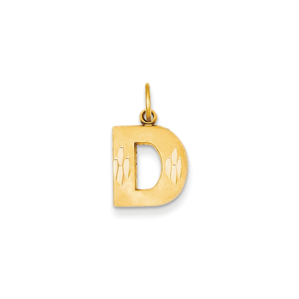 14k Yellow Gold Initial D Charm Pendant
