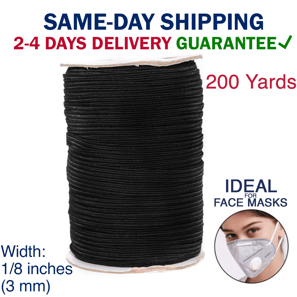 Black Fedaog,Elastic Bands for Sewing 100 Yards 1//8 Inch Wide Elastic String Cord Bands Rope for Sewing Crafts DIY Mask Face Cover