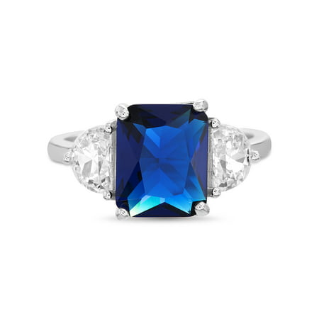 Inspired by You Radiant Cut Simulated Blue Sapphire and Half Moon Cubic Zirconia Cocktail Ring for Women in Rhodium Plated 925 Sterling Silver