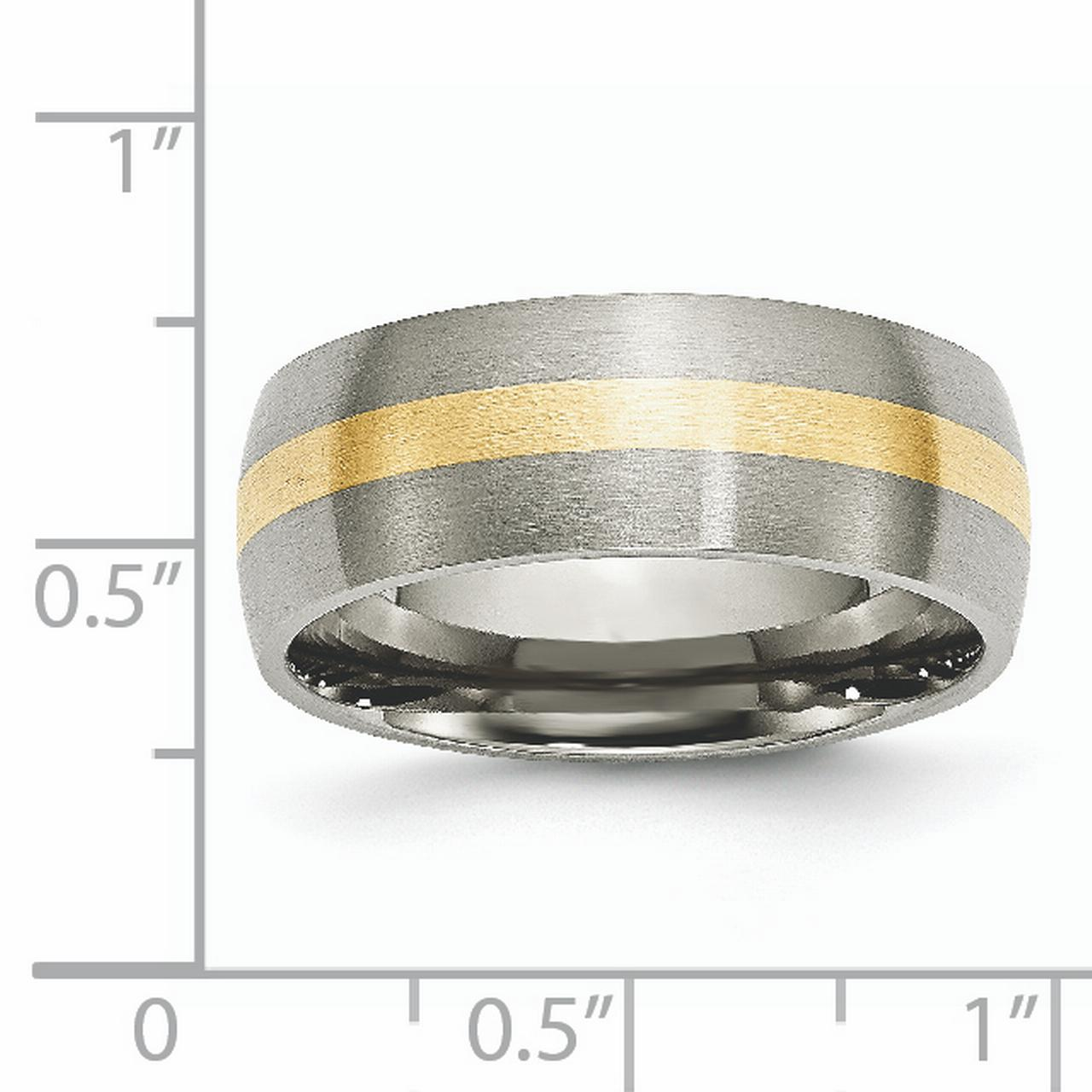 Titanium 14k Yellow Inlay 8mm Brushed Wedding Ring Band Size 8.50 Precious Metal Fine Jewelry Gifts For Women For Her - image 5 de 6