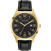 Bulova Men's Gold-Tone Case Black Leather Strap Watch