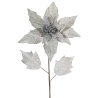 "Melrose 30"" Grey/Silver Linen Burlap Artificial Poinsettia Flower Stem"