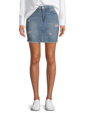 Women's Destructed Denim Skirt