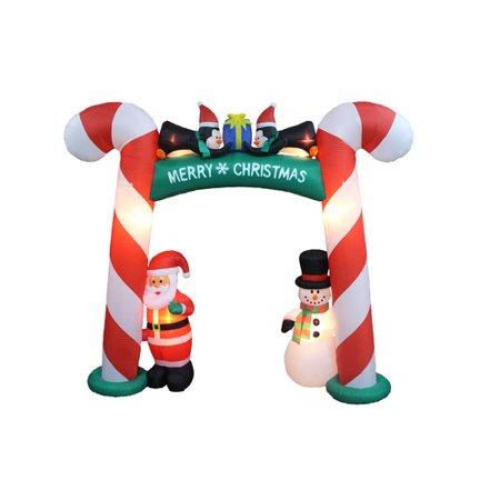 The Holiday Aisle Christmas Inflatable Candy Cane Arch with Santa, Snowman, and (Happy Holidays Arch)