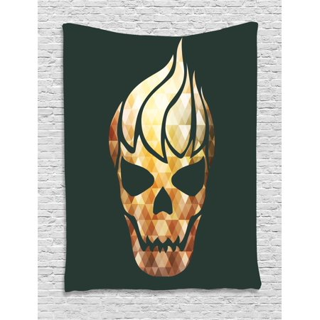 Modern Tapestry, Gothic Skull with Fractal Effects in Fire Evil Halloween Concept, Wall Hanging for Bedroom Living Room Dorm Decor, 40W X 60L Inches, Yellow Light Caramel Dark Grey, by Ambesonne