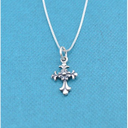 Little girls scrolled cross necklace in sterling silver on a 14 sterling silver box chain. Little girls jewelry. Christian Childrens jewelry. - Cross Necklace For Girl