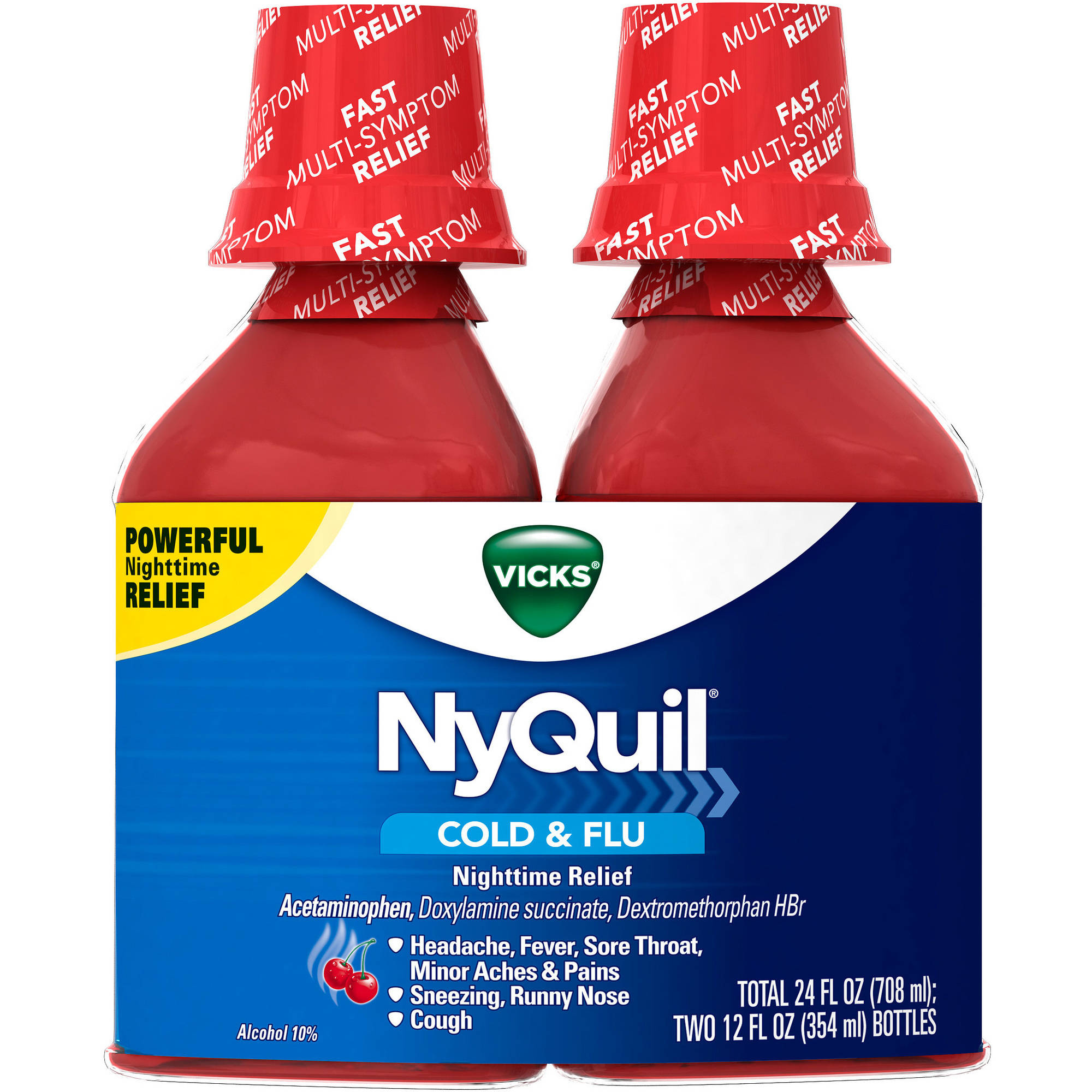 Vicks NyQuil Cold & Flu Nighttime Relief Cherry Flavor Liquid Cold Medicine, 12 fl oz, (Pack of 2)