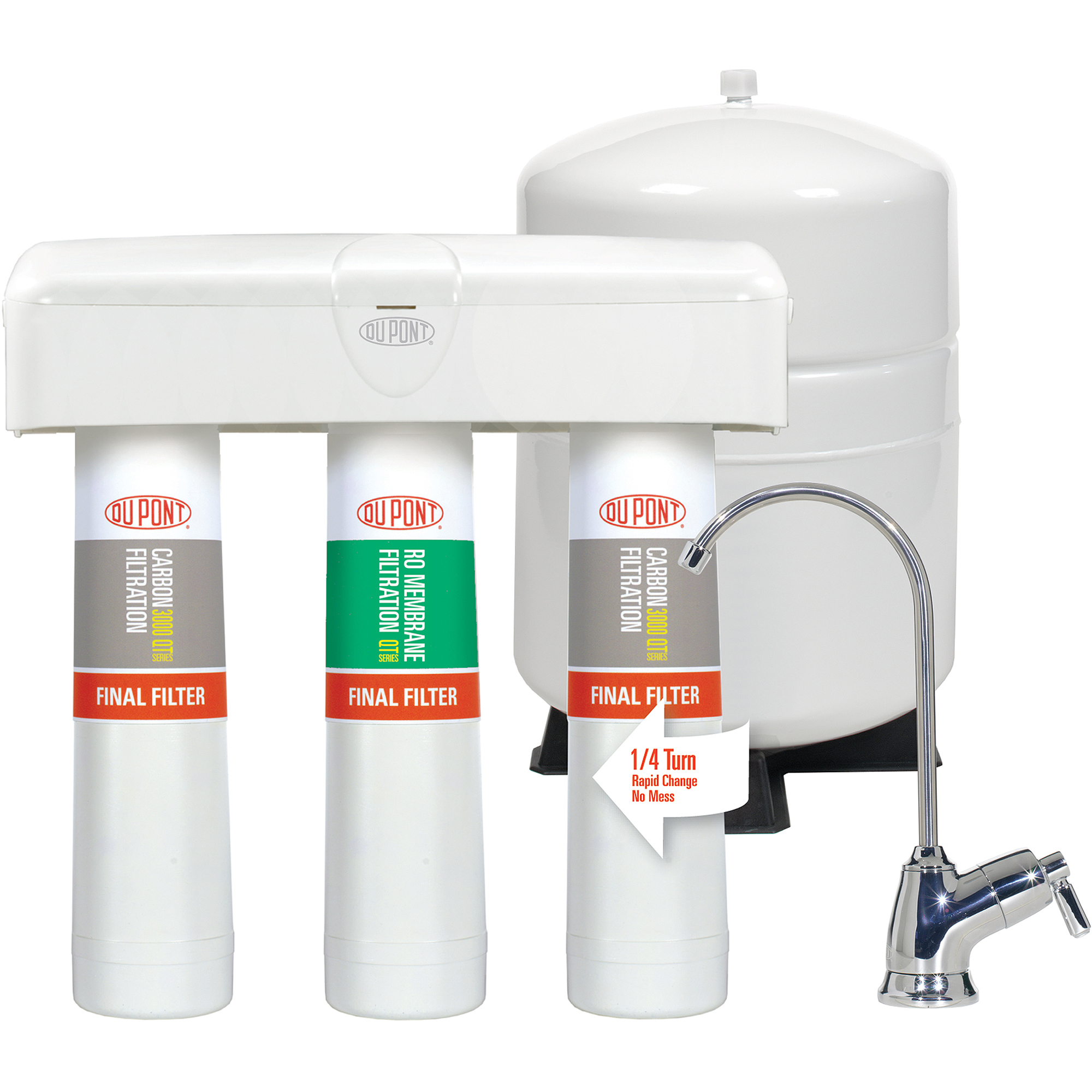 DuPont QuickTwist 3-Stage Reverse Osmosis Water Filtration System with Faucet