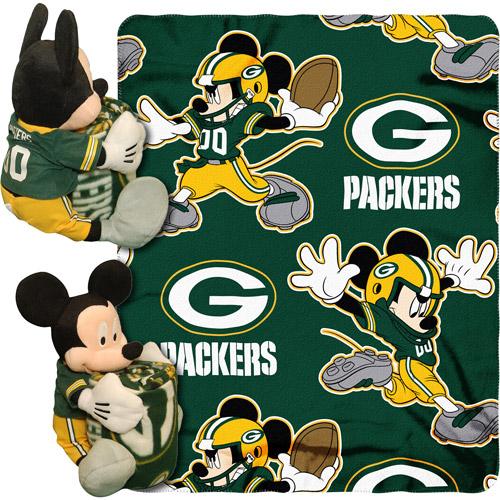 "Disney NFL Hugger Pillow and 40"" x 50"" Throw Set, Green Bay Packers"