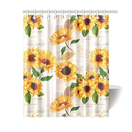 Mkhert Vintage Sunflowers On Postcards Newspaper House Decor Shower Curtain For Bathroom Decorative Set 60x72 Inch
