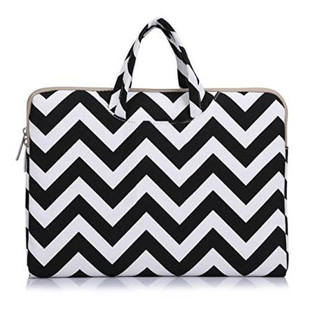 Laptop Briefcase, Canvas Fabric Carry Case Sleeve Handbag for 11-11.6 Inch Acer Chromebook 11 / HP Stream 11 / Samsung Chromebook 2 / Notebook Computer / MacBook Air 11, Chevron Black-1