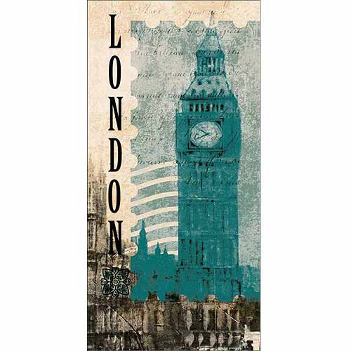 Big Ben London Stamp Travel Painting Blue Canvas Art by Pied Piper Creative