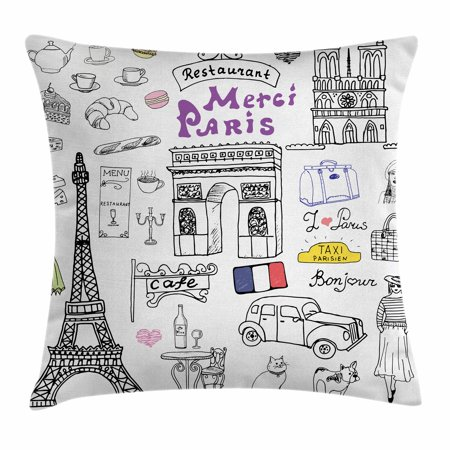 Doodle Throw Pillow Cushion Cover, Paris Culture in Doodle Style Drawing Eiffel Tower Beret Croissant Blue Cheese Taxi, Decorative Square Accent Pillow Case, 18 X 18 Inches, Multicolor, by