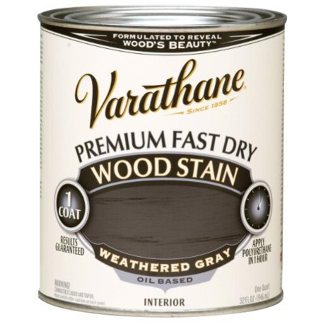 Varathane 269394 1 Quart Weathered Gray Fast Dry Wood Stain
