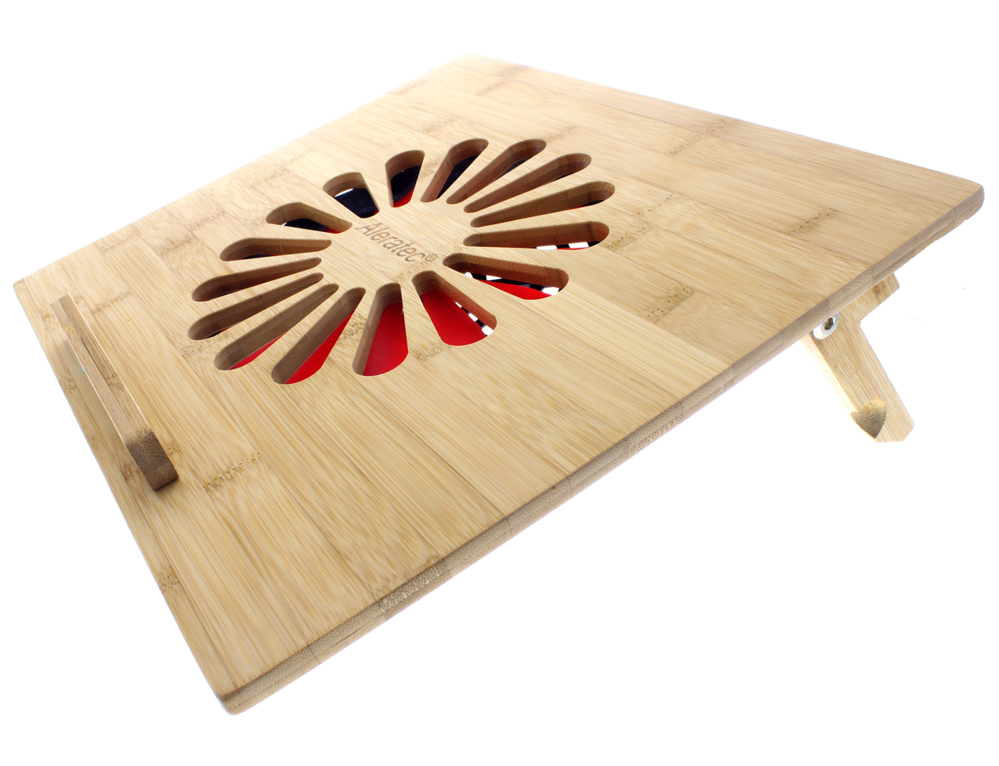 Aleratec Natural Bamboo Cooling Vented Laptop Desk Table Stand With Fan Up To 15in Com