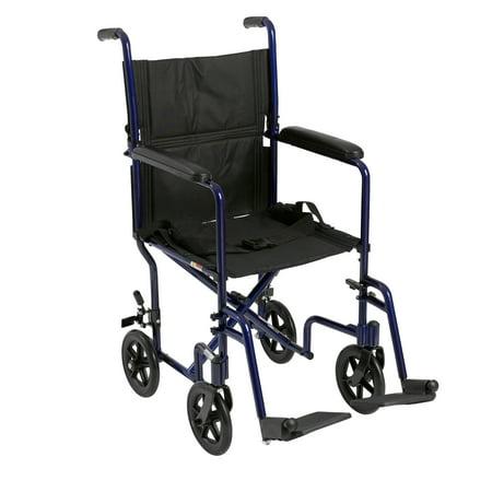 "Drive Medical Lightweight Transport Wheelchair, 19"" Seat, Blue"