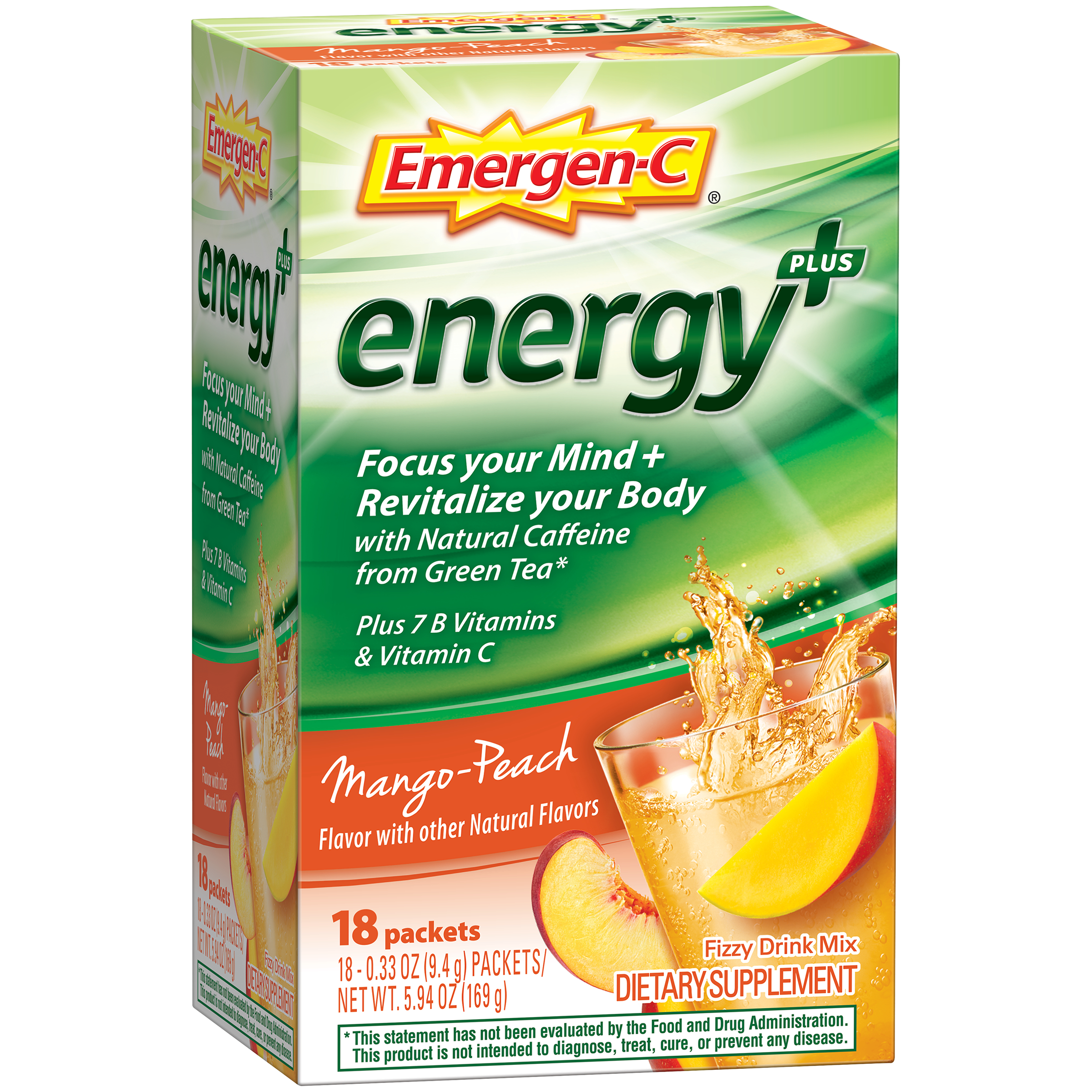 Emergen-C Energy+ (18 Count, Mango-Peach Flavor) Dietary Supplement Drink Mix with Caffeine, 0.33 Ounce Packets