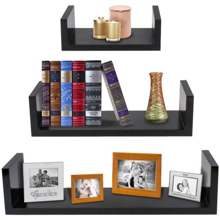 "Sorbus Floating Shelves — Hanging Wall Shelves Decoration — Perfect Trophy Display, Photo Frames (17""x4""x4"", Black)"